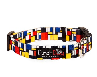 """Dog collar from recycled webbing - Mondrian inspiration - Size S (10-15""""), 5/8"""" wide"""