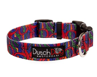 "Dog collar from recycled webbing - van Heemskerck inspiration - Size M (15-20"")"