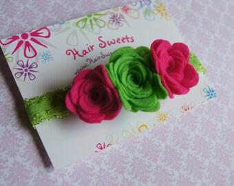 Pink and Green Headband, Green and Pink Felt Flower, Green Felt, Hot Pink Felt Flower, Newborn Photo Prop, Felt Flower Prop