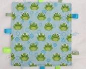 Baby Taggie Blanket- Minky & flannel- frogs