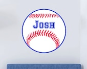 Red, White and Blue Baseball Sports Vinyl Wall Art Decal - Child's, Kid's and Teens Bedroom Wall Art - Jersey Number Can Be Added