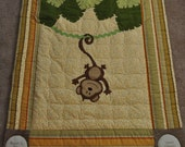 Custom Hanging Around Jungle Monkey Baby/Infant/Child Quilt/Wall Hanging
