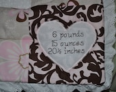 Custom Full-Birth Information Personalization - Baby/Infant/Child Quilt/Wall Hanging