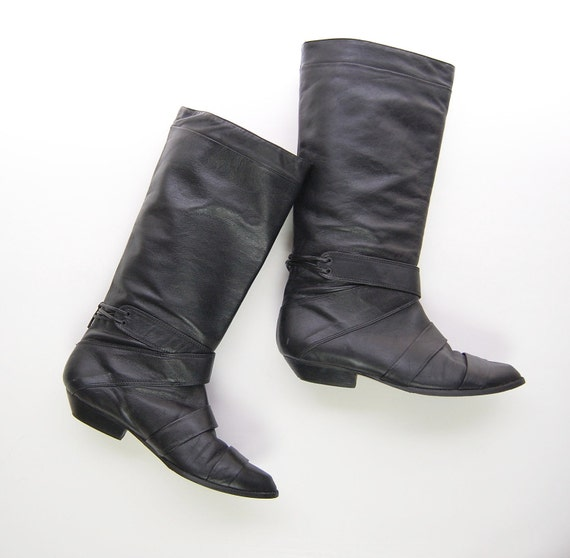 vintage 1980s black leather pirate boots size by