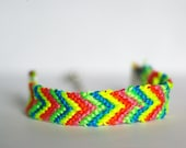 Neon Friendship Bracelet, Bright Colors, with Silver Clasps, Chevron Style