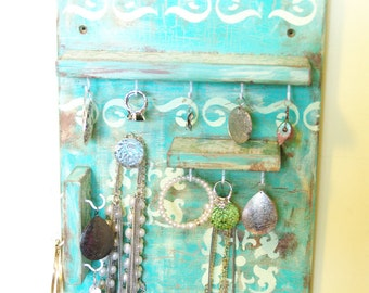 Shabby Chic Jewelry Display, Accessories Holder, Necklace, Earring, Bracelet Display, Disstressed, Teal and Yellow