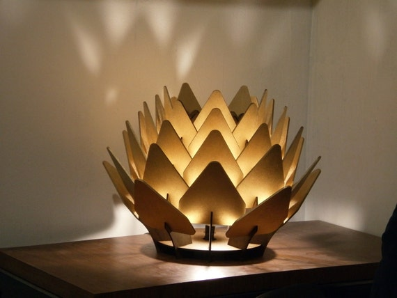Cynara Table Lamp - geometric wood sculpture accent lighting