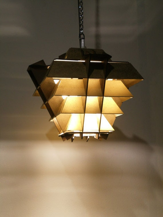 Pyramid Hanging Lamp Geometric Wood Sculpture By SectorXero