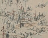 Antique Japanese Art Painting Landscape by Shunkin - 110493