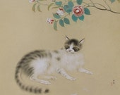 Vintage Japanese Art Painting Cat and Spring by Koyo
