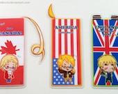 Any 3 Laminated Bookmarks/coaster: Hetalia, Death Note and Professor Layton