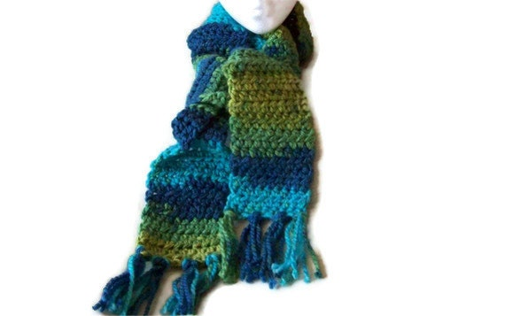 St Patricks Day Scarf - Blue Green - Tassle fringe - Crochet