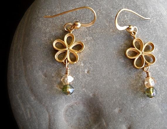 Earrings - Adorable Flower in 18K Gold finish over bronze Dangling pretty czech glass beads, Gold fill Earwires