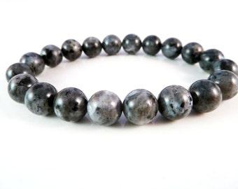 Larvikite Stretch Bracelet 10mm Round Gemstone Bead Bracelet
