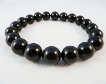 Black Tourmaline Stretch Bracelet 10mm Round Bead Bracelet
