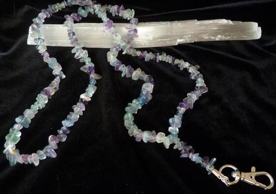 Rainbow Fluorite Gemstone Chip Bead Lanyard
