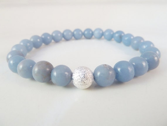 Blue Angelite Round Bead Stretch Bracelet with Silver Plated Copper Stardust Accent Bead 8mm