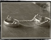 SLAVE RINGS - Sterling silver chain connected Wide Band double rings 1 or 2 finger- Made to Order