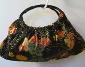 Floral on black with oval black bamboo handles, Handbag Handmade purse, Everyday Bag, fall fashion or as Christmas gift