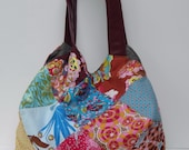 colorful floral patchwork bag with a Bordeaux vinyl handle, Handmade tote, Everyday Bag, autumn fashion or as Christmas gift