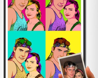 Custom portrait painting in pop art style for birthday gift