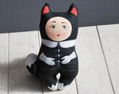 black cat a painted folk art doll - soft sculpture