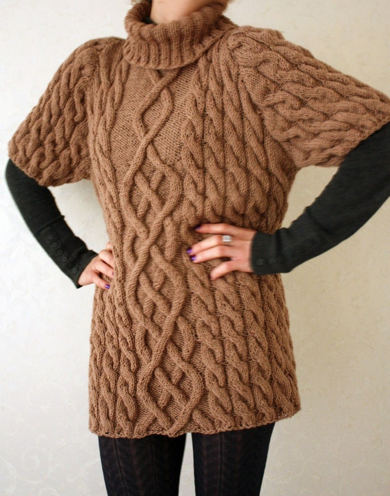 Items similar to Knitted dress in plait pattern-Hand Knit Sweater- Womens Swe...