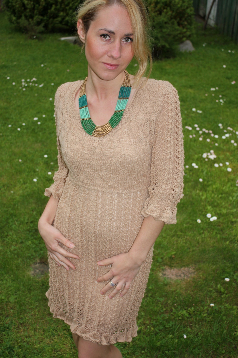 Hand Knitted Dress Patterns : Items similar to Hand Knitted Lace Dress-Hand knit Dress on Etsy