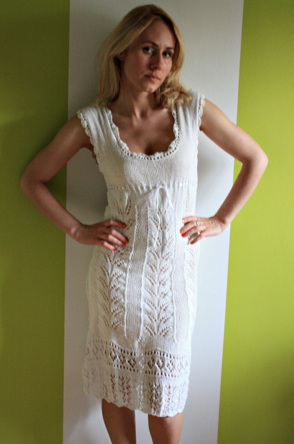 Knitting Summer Dress : Gorgeous hand knitted white color summer dress in by billeshop