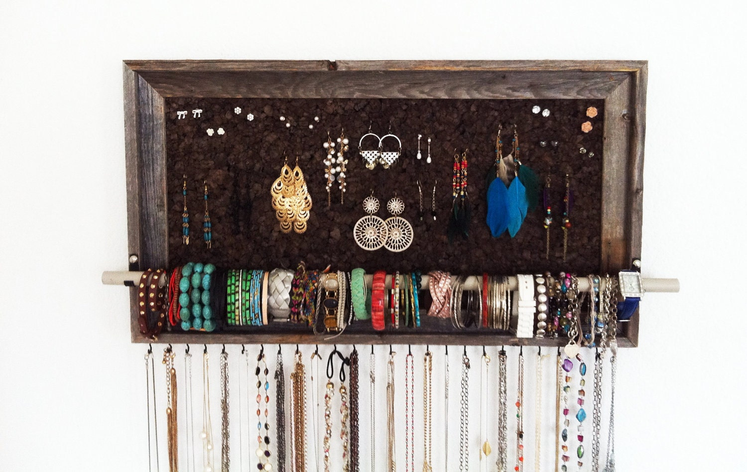 15 x 27 large barn wood jewelry organizer by