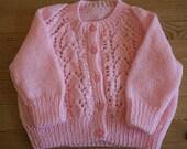 Pink baby cardigan 3-6 months