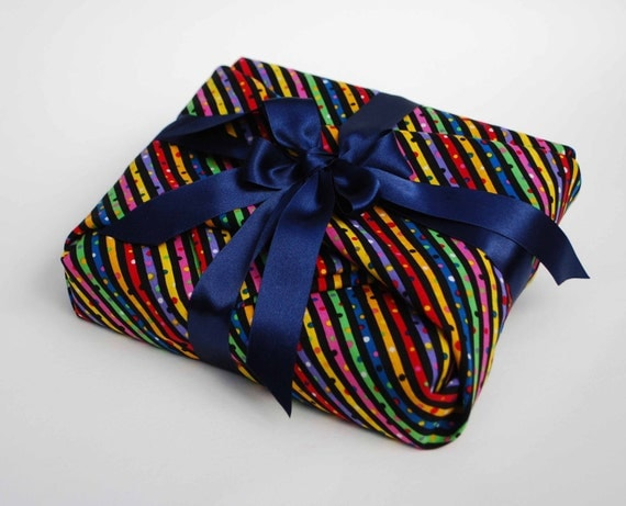 Fabric Gift Wrapping, Spots and Stripes reusable luxury gift wrap with Ribbon