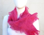 Christmas Sale Muslin Ruffled Nuno Felt Wrap Cotton Shawl Summer Scarf Rose Pink