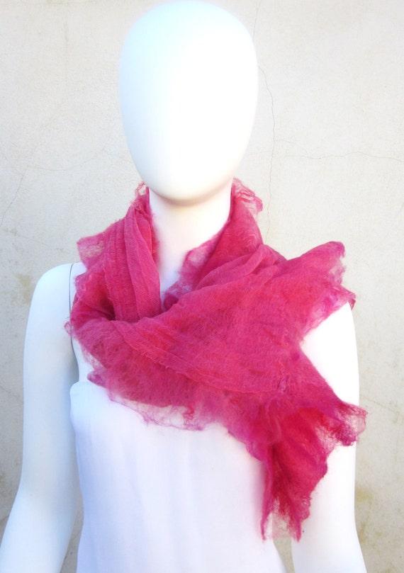 Christmas Sale Muslin Ruffled Nuno Felt Wrap Cotton Shawl Summer Scarf Rose Pink