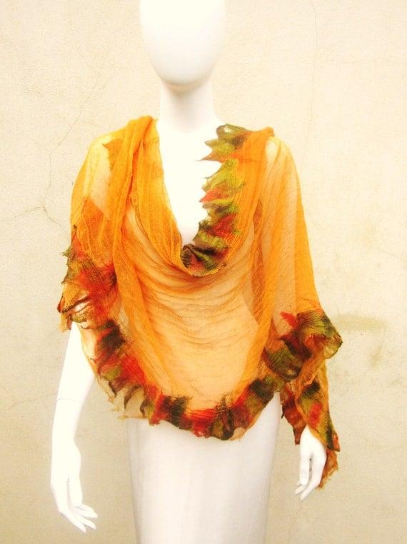 Nuno Felt Muslin Wrap Tangerine Orange  Boho Chic Gypsy Scarf Autumn Leaves Summer Raw Edge