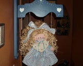 Decorative Tole Painted WELCOME Sign with a DOLL on a SWING to Great Your Guests