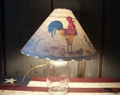 """12""""  DECORATIVE Tole PAINTED Chickens Lampshade with Scalloped Edges Handmade"""