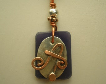 Monogram, Letter A, Alphabet Inititial A Pendant, Copper over Sterling Silver Initial Charm Pendants, Made to Order