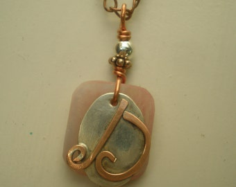 Letter D, Alphabet Letter Pendant, Copper over Sterling Silver Initial Charm Pendants, Made to Order