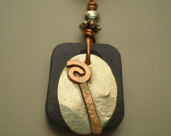 Letter I, Alphabet Letter Pendant, Copper over Sterling Silver Initial Charm Pendants, Made to Order