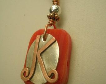 Letter K, Alphabet Letter Pendant, Copper over Sterling Silver Initial Charm Pendants, Made to Order