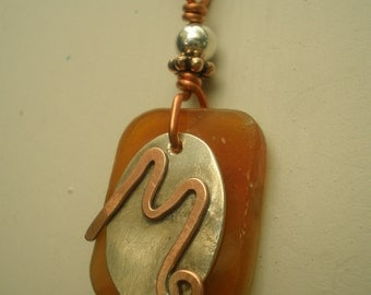 Letter M, Alphabet Letter Pendant, Copper over Sterling Silver Initial Charm Pendants, Made to Order
