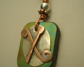 Monogram, Letter X, Alphabet Letter Pendant, Made to Order, Copper over Sterling with Stained Glass