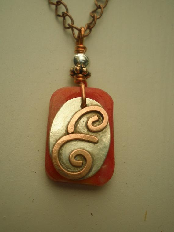 Letter E, Alphabet Letter Pendant, Copper over Sterling Silver Initial Charm Pendants, Made to Order