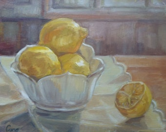 Lemons Still Life -  Original Oil Painting