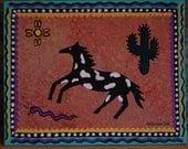 Southwest Folk Art Painting Acrylic on Canvas Spotted Palomino Horse 8 x 10