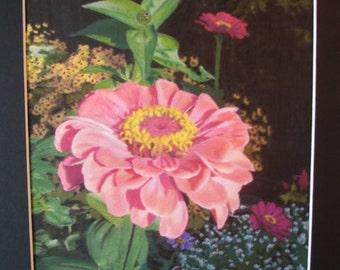 Flower Art, Grand  Zinnia Watercolor Painting, Nature