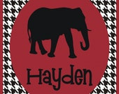 Personalized Alabama T-Shirt with Houndstooth Background
