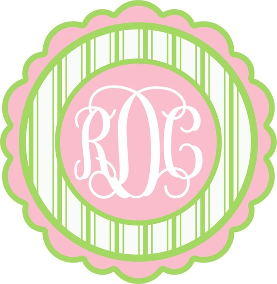 Girls Personalized T-Shirt (Pink & Green Stripes with Monogram)