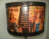 Large 'Pulp Fiction' Vintage Book Cover Lampshade -  Decoupage Lamp Shade 1950s Style- Floor or Table lamp